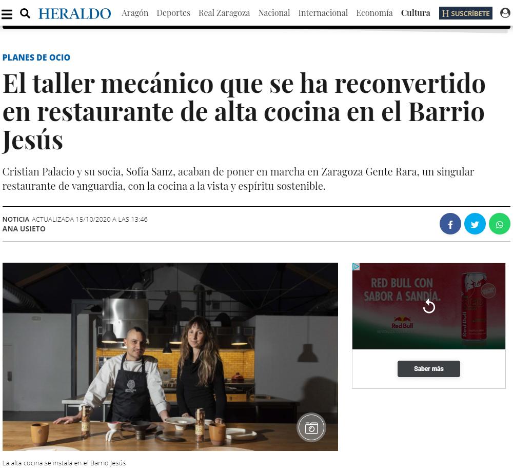 Aparición en el Heraldo de Aragón
